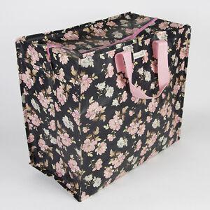 grand-SAC-RANGEMENT-JUMBO-BAG-motif-FLEUR-FLORAL-noir-amp-rose-style-VINTAGE