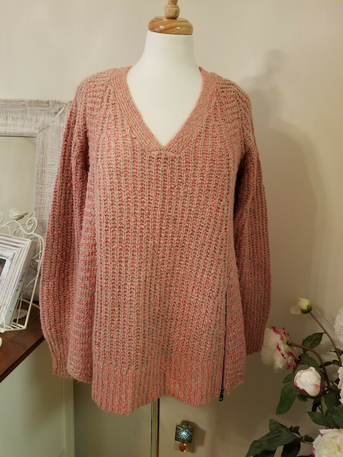 Anthropologie Anthropologie Anthropologie MOTH Zipped Stitched Sweater in Coral Tan Size L Large NWT  118 0bfeff