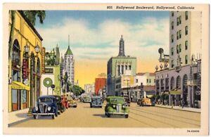 091420-AUTOS-ON-HOLLYWOOD-BOULEVARD-VINTAGE-HOLLYWOOD-CA-LINEN-POSTCARD-1938