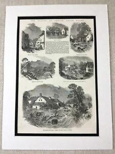 1853-Stampa-South-Galles-Floods-Brecon-Beacon-Landscape-Gallese-Antico-Originale