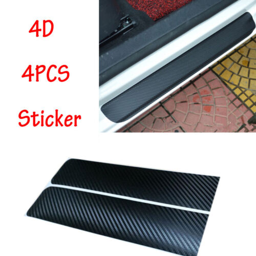 4PCS 4D black carbon fiber exterior door panel wear cover graphic decal
