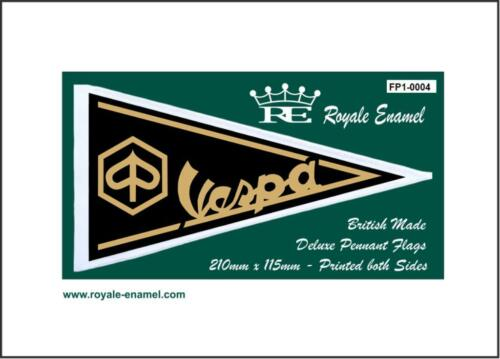 FP1.0004 VESPA LOGO GOLD ON BLACK Royale Antenna Pennant Flag