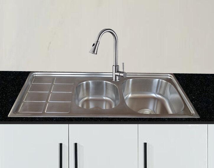 1x Acciaio Inox 304 Lavello Cucina Incasso Quadrato 2 Lavabo Lavabo ...