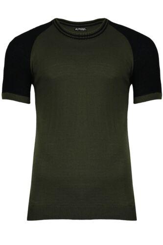 Mens Ribbed Hem Contrast Short Sleeve 2 Tone Crew Neck Tee Top Raglan T Shirt