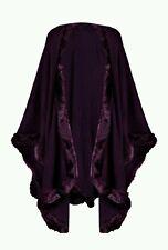 Ladies Womens Poncho Faux Fur Cape Trim Hooded Celeb Jacket  Wrap Coat 6 -18