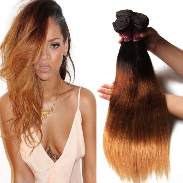 Brazilian Ombre Three Tone Straight Hair 100g 100% Virgin Human Hair Extensions