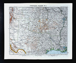 Map Of Texas And Louisiana Border.1911 Stieler Map United States Texas Louisiana Oklahoma Arkansas
