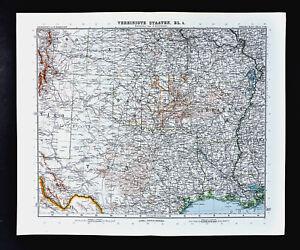 1911 Stieler Map United States Texas Louisiana Oklahoma Arkansas
