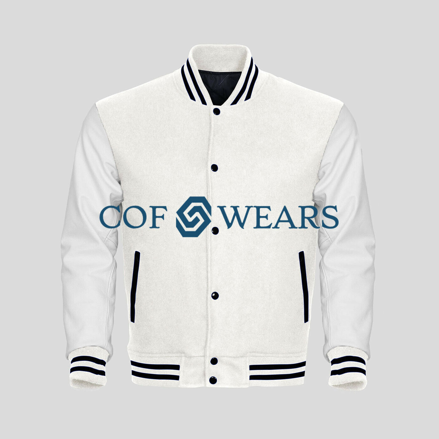 Varsity Letterman Base Ball White Wool & Genuine White Leather Sleeves Jakets