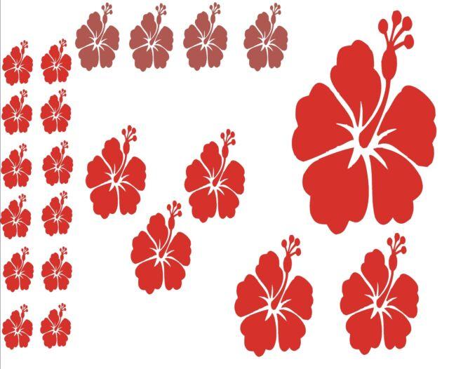 Wandaufkleber Wandtattoo Küchenaufkleber -22 teiliges Hibiskusblüten Set
