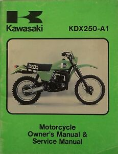 genuine kawasaki kdx250 a1 owners and service manual kdx 250 a1 ebay rh ebay com kawasaki kx 250 f 2010 service manual kawasaki kx250 service manual