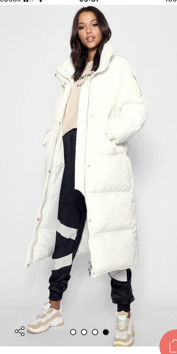 Boohoo Brand New Long White Coat 6