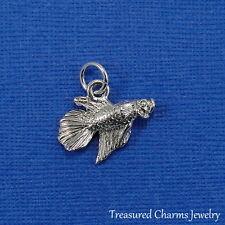 Silver BETTA SIAMESE FIGHTING FISH CHARM PENDANT