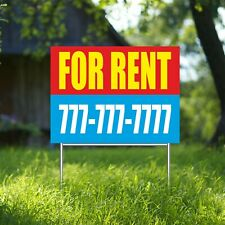 For Rent Yard Sign Corrugate Plastic With H Stakes Custom Phone Free Rent Rental