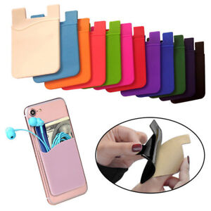 Pouch-Silicone-for-Phone-Credit-Card-Wallet-Holder-Pocket-Stick-On-Adhesive-CAR