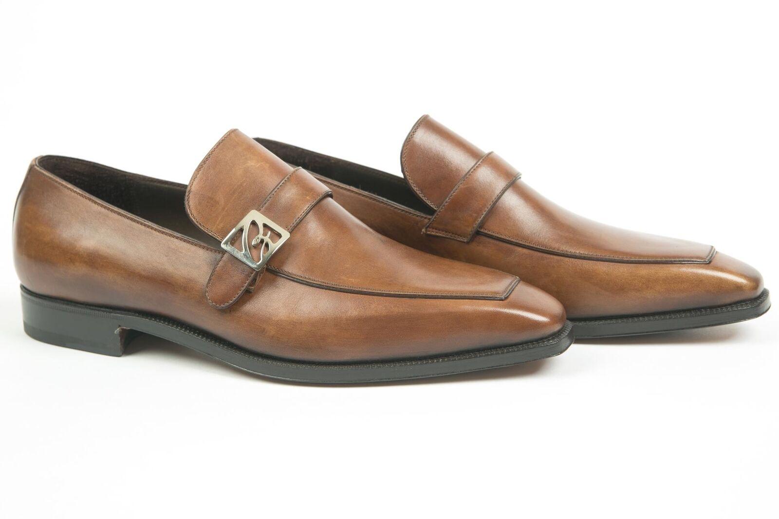 Brioni Nib Marron 100% Leather Apron Orteil Mocassins Chaussures Habillées 6.5