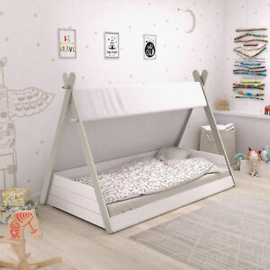 kinderbett tipi wei indianerzelt bett 90x200 f r kinder jugendbett lattenrost ebay. Black Bedroom Furniture Sets. Home Design Ideas