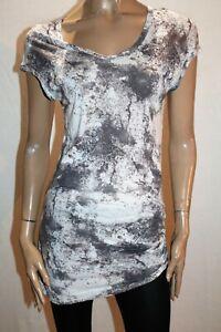 SABA-Brand-Marble-Print-V-Neck-Hip-Drape-Oversize-T-Shirt-Size-6-LIKE-NEW-AN02