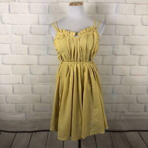 Love-Stitch-Womens-Yellow-Cotton-Sun-dress-Strappy-S-SLD1
