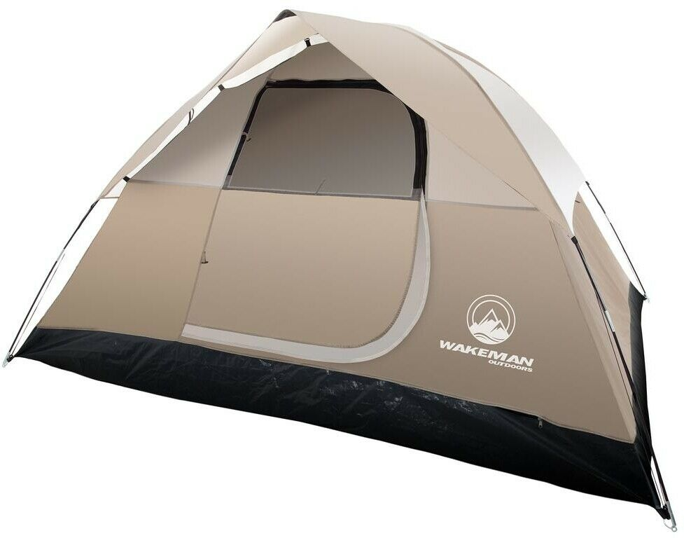 Wakeuomo campeggio Dome Tent 4 Person Shelter Door Sleeping all'aperto Portable Marronee