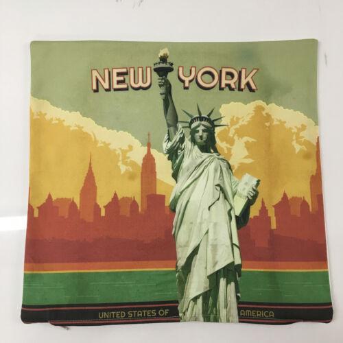 New York 100/% coton housse de coussin souvenir Statue of Liberty Manhattan Cadeau