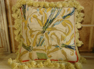 12-034-Full-Floral-COMPLETE-Handmade-Needlepoint-Pillow-French-Country-Chic-Shabby