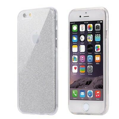 Full Handy Tasche Schutz Hülle Etui Case Transparent Cover TPU Glitzer 360 Grad