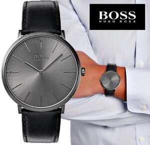 Original-Hugo-Boss-1513540-Horizon-Herrenuhr-Leder-Schwarz-Gunmetall-NEU