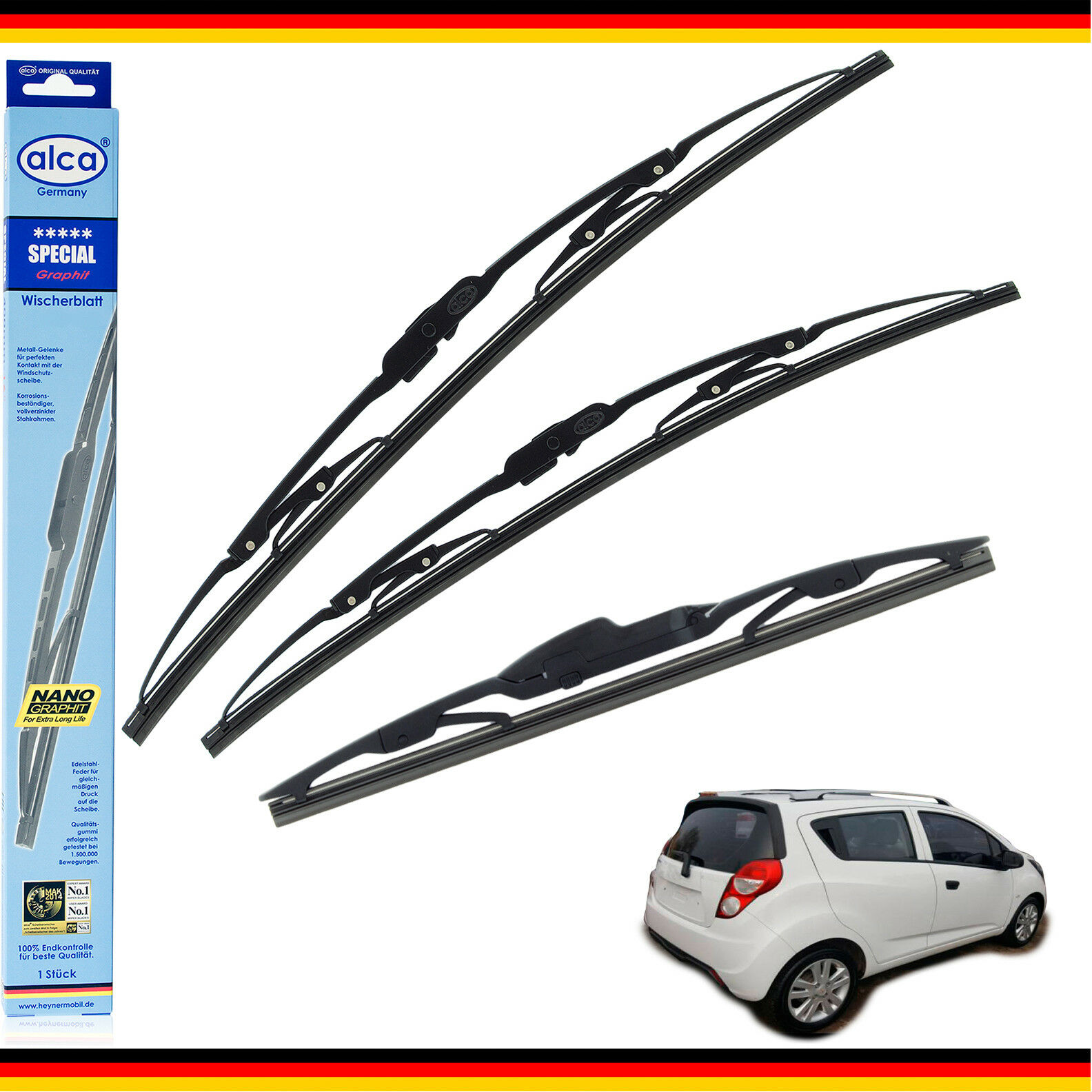 Mitsubisi Space Star Models 1998 To 2005 Alca Germany Special Front Rear Windscreen Wiper Blades Replacement 211812 AS211812H RA