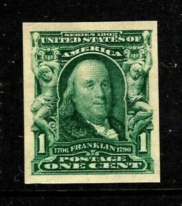 DH-US-319-MNH-OG-Imperforate-Green-1c-Franklin-Fresh-amp-Sound