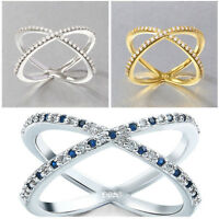 "Luxury 925 Sterling Silver Crystal Criss-Cross ""X"" Shape Wedding Rings Jewelry"