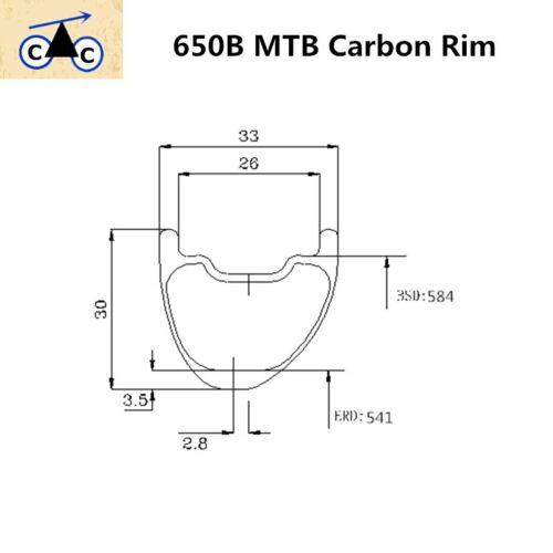 650B Offset Asymmetry Carbon MTB Rim 33mm Wide 27.5er Carbon Rim Hookless 32H