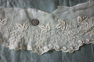 Antique-American-Hand-Embroidered-White-Work-Muslin-Silk-Trim-27-034-X-4-5-034-Dolls