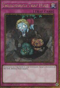 1st Edition PGL3-EN036 - Gold Secret Rare Near Mint Treacherous Trap Hole