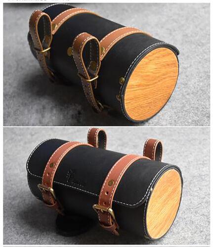 Vintage Bike Saddle Tail Bag Leather Bicycle Rear Seat Bag Pannier Handlebar Bag