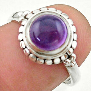 0.82cts Solitaire Natural Purple Amethyst Round 925 Silver Ring Size 7 T41268