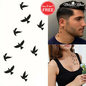 Black Swallows Temporary Tattoo Birds Finger Ear Neck Mens