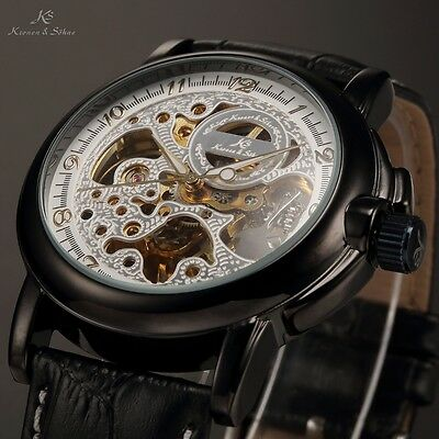 New KS Skeleton Military Automatic Mechanical Elegant Mens Sport Wrist Watch
