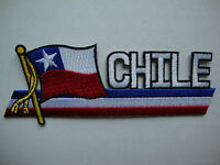 Chile Flag Cut Out Lettering 5 X 2 Iron On Patch Badge Ready Glue Flag