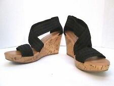Montego Bay Club 11 Black Platform Wedge Cork High Heels Gladiator Sandals Sexy!