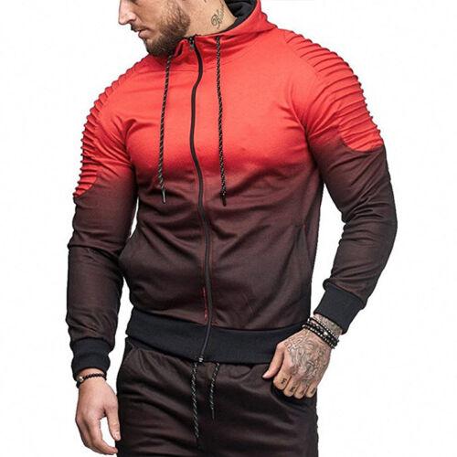 Men Tracksuit Hoodies Hooded Camo Military Jacket Jogger Pants GYM Activewear US