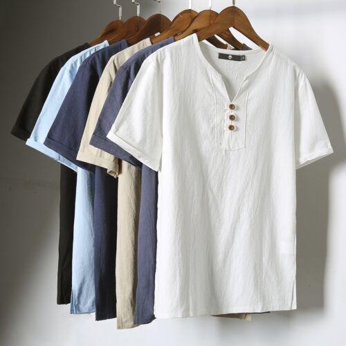 Mens Linen Cotton Blend Short Sleeve T-shirt Henley Neck Style Ethnic Top Tee