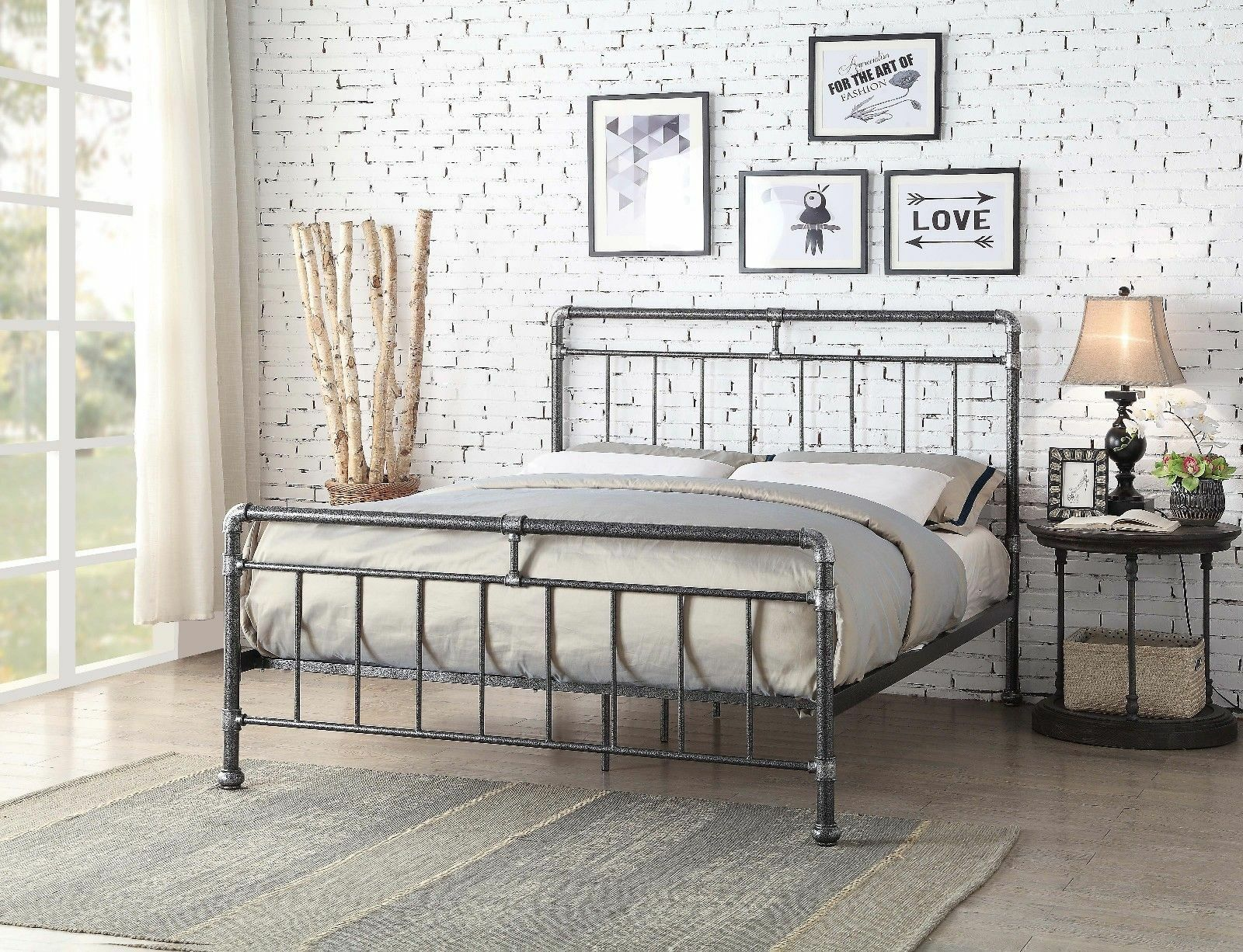 Vintage Industrial Scaffold Style Metal Bed Frame 4FT6 Double Size