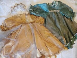 Lot-2-Old-Vintage-Doll-Gowns-Clothing-for-bigger-dolls-Fancy-HomeMade-Dress-19-034