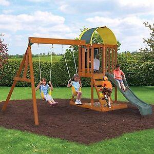 wooden outdoor swing set playground swingset playset kids backyard