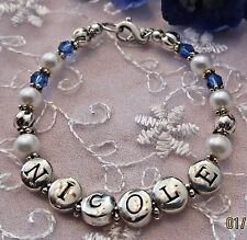 BABY GIRL VINTAGE BLOSSOM STERLING .925 CHRISTENING PERSONALIZED NAME BRACELET