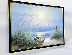 Gemaelde-Bilde-Druckbild-Poster-Holzrahmen-Bilderrahmen-50x70-Braun-Gold-Strand