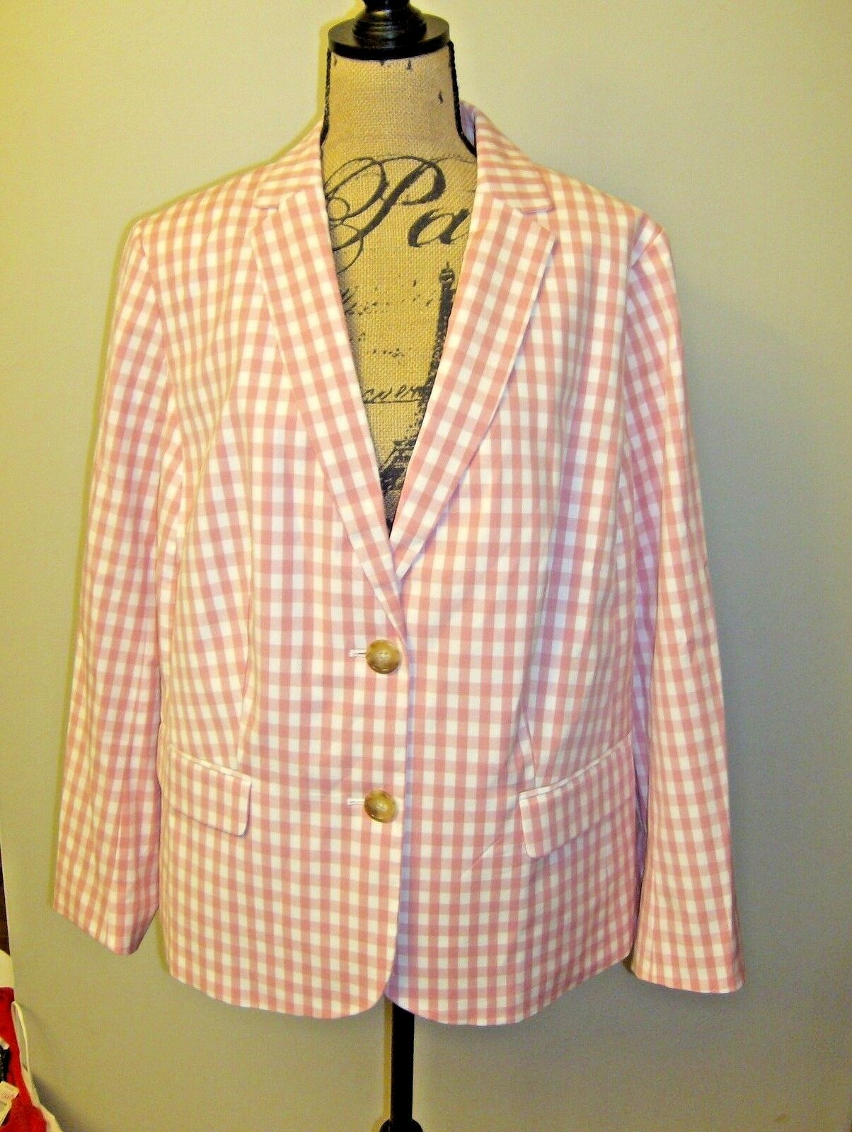 Talbot's Party Gingham Cotton Blazer Fully Lined NWT Pink White Size 20W