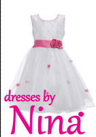 Quality Flower girl dress Bridesmaid Party dress 1 to 10 Yrs White and Hot Pink