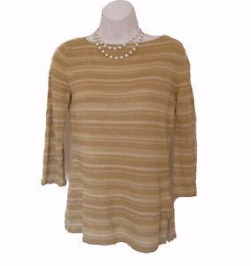 RALPH-LAUREN-Spring-Striped-Sweater-Sz-S-2-4-Linen-Silk-Gold-METALLIC-Fine-Gauge